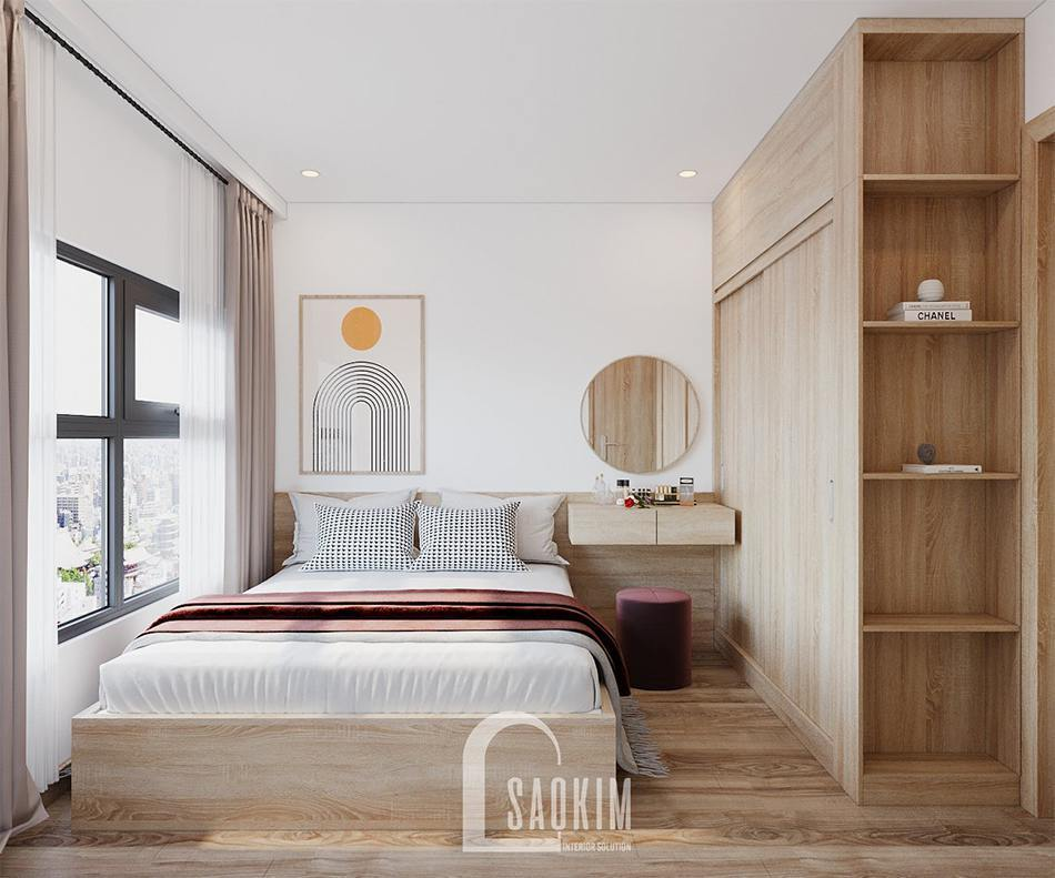 Mẫu thiết kế phòng ngủ master căn hộ 2 phòng ngủ + 1 Vinhomes Ocean Park 65m2
