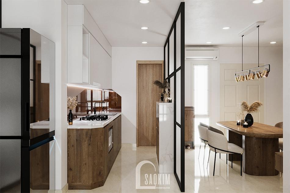 Vách ngăn kính sử dụng ngăn giữa bếp và phòng ăn