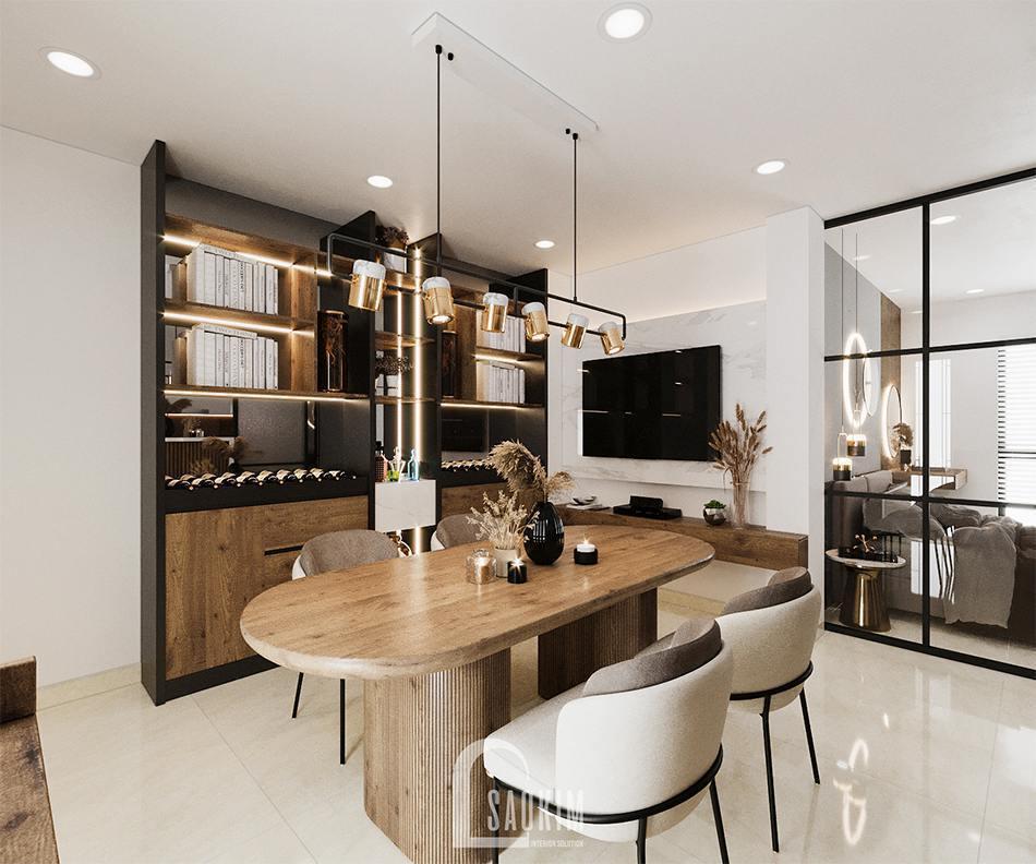 Thiết kế nội thất phòng ăn căn hộ studio 45m2 Tây Hồ