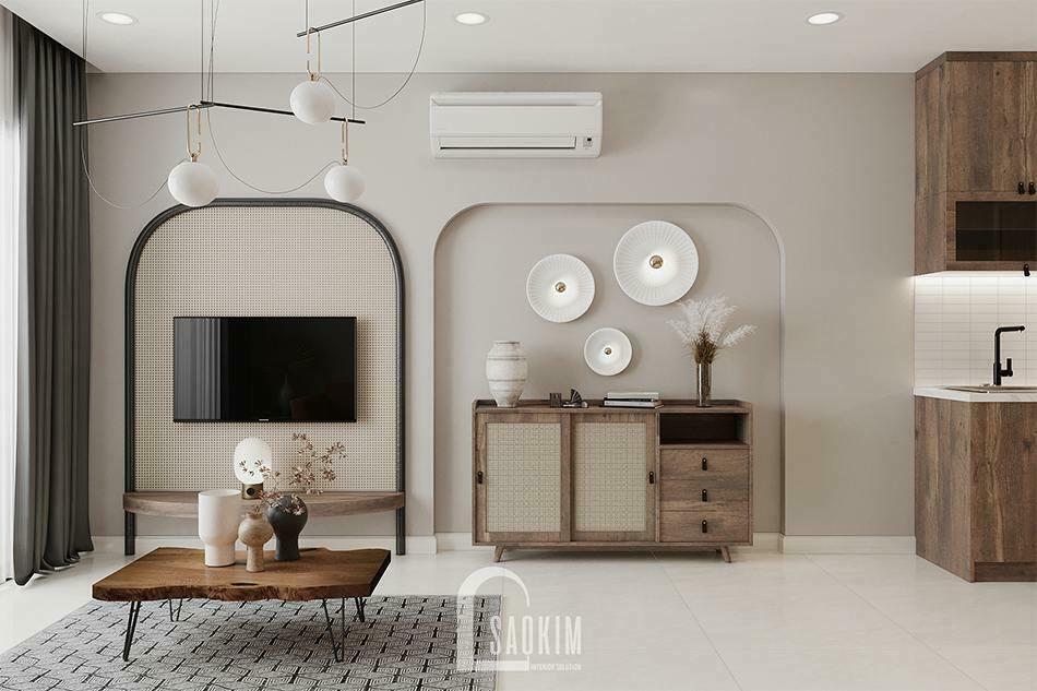 Thiết kế căn hộ 45m2 phong cách Rustic dự án Vinhomes Ocean Park
