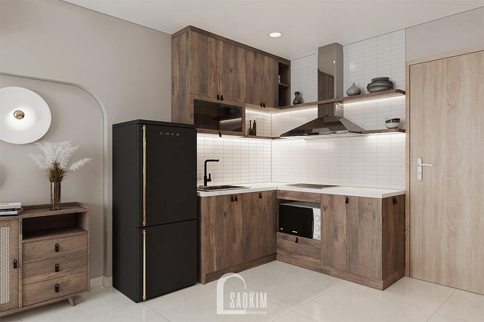Không gian phòng bếp đơn giản, ấm cúng