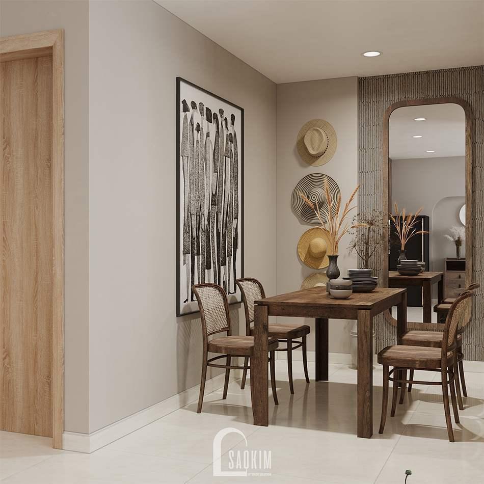 Thiết kế nội thất chung cư 45m2 phong cách Rustic dự án Vinhomes Ocean Park
