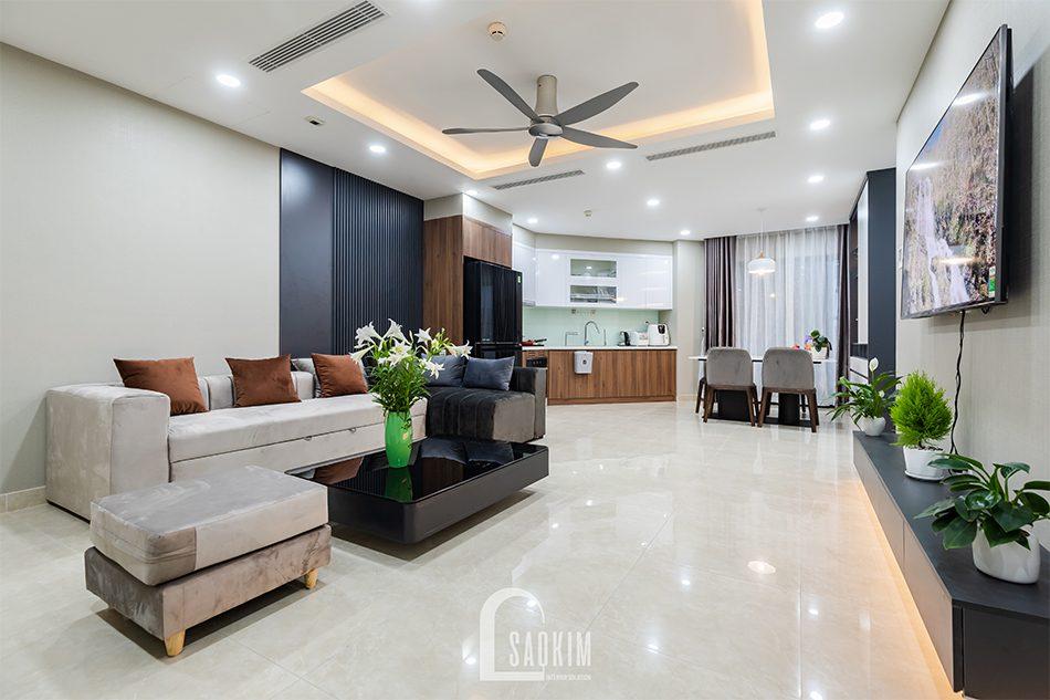 Thi công nội thất phòng khách căn hộ Golden Park mang vẻ đẹp ấm cúng với phong cách hiện đại