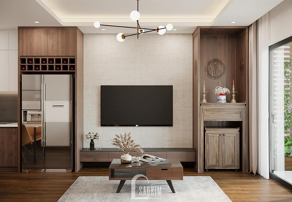Thiết kế phòng khách chung cư 100m2 3 phòng ngủ dự án TSQ