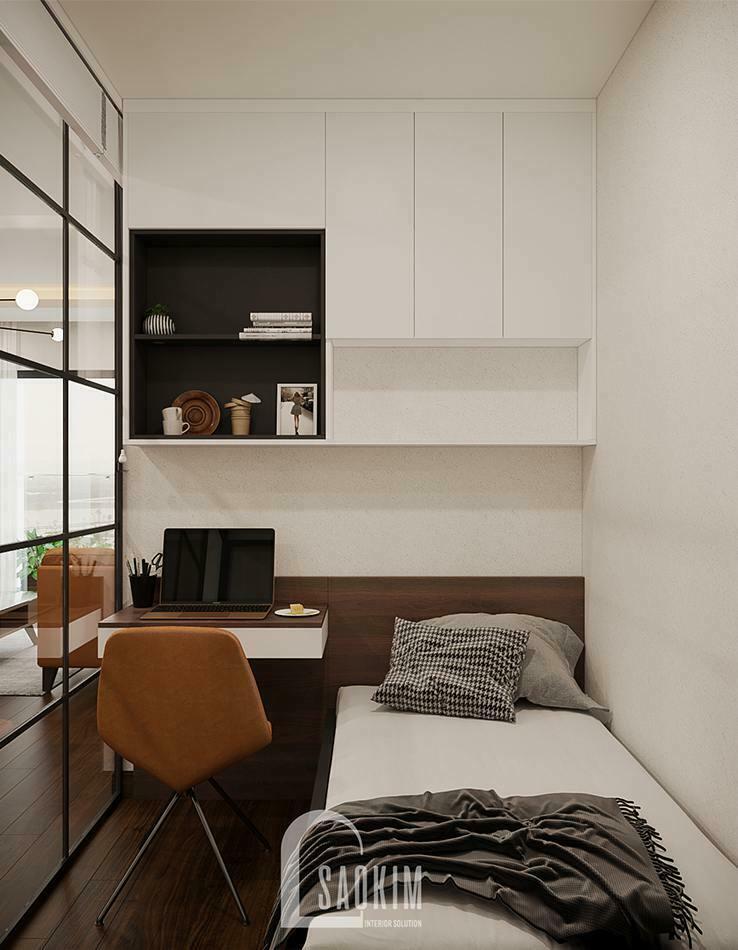 Thiết kế căn hộ 100m2 3 phòng ngủ dự án TSQ bố trí phòng ngủ nhỏ gọn gàng, khoa học