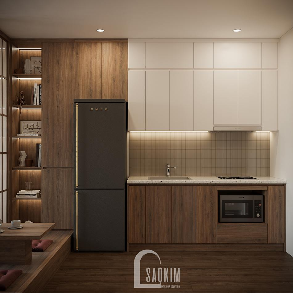 Thiết kế nội thất phồng bếp chung cư theo phong cách Nhật Bản cho căn hộ studio Vinhomes Ocean Park