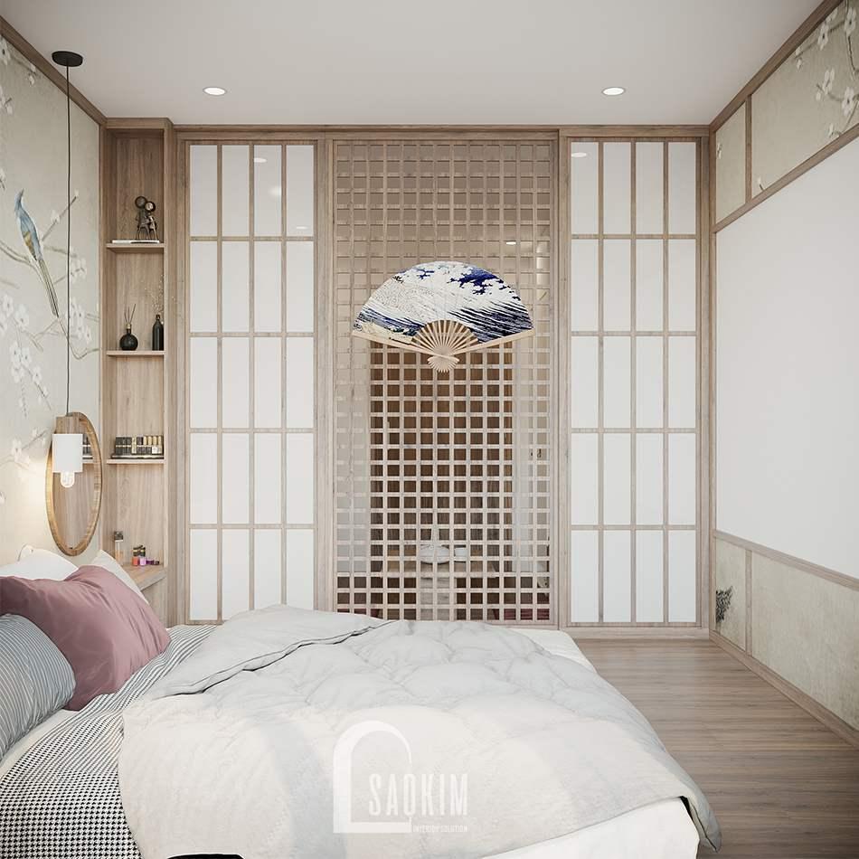 Thiết kế nội thất phòng ngủ theo phong cách Nhật Bản cho căn hộ studio Vinhomes Ocean Park