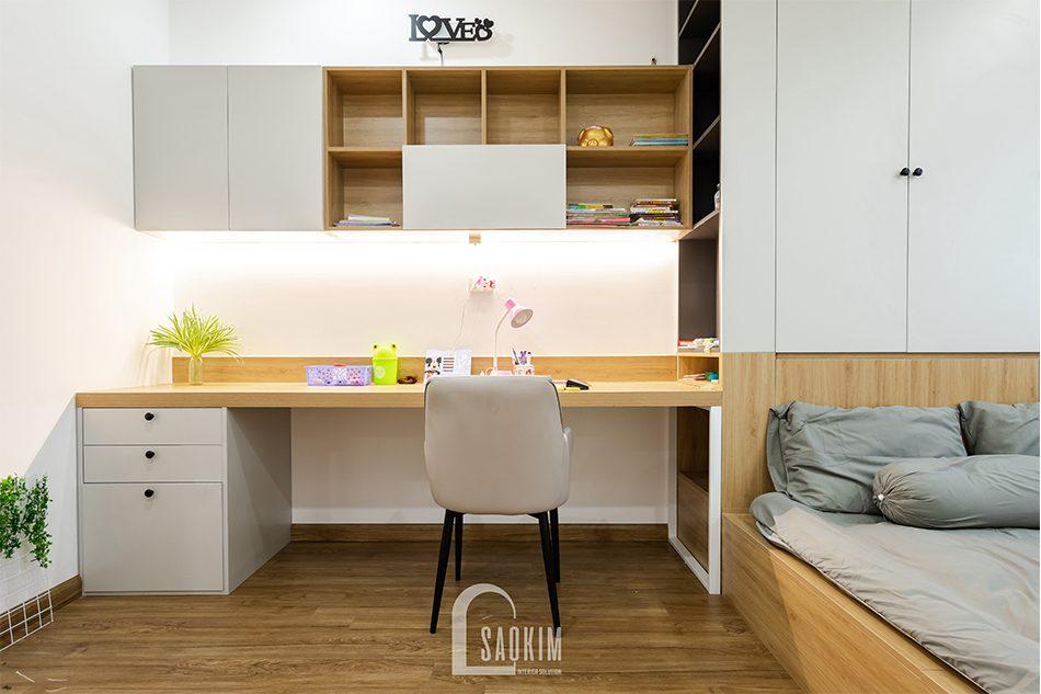 Thiết kế thi công chung cư Iris Garden - không gian học tập cho bé gái