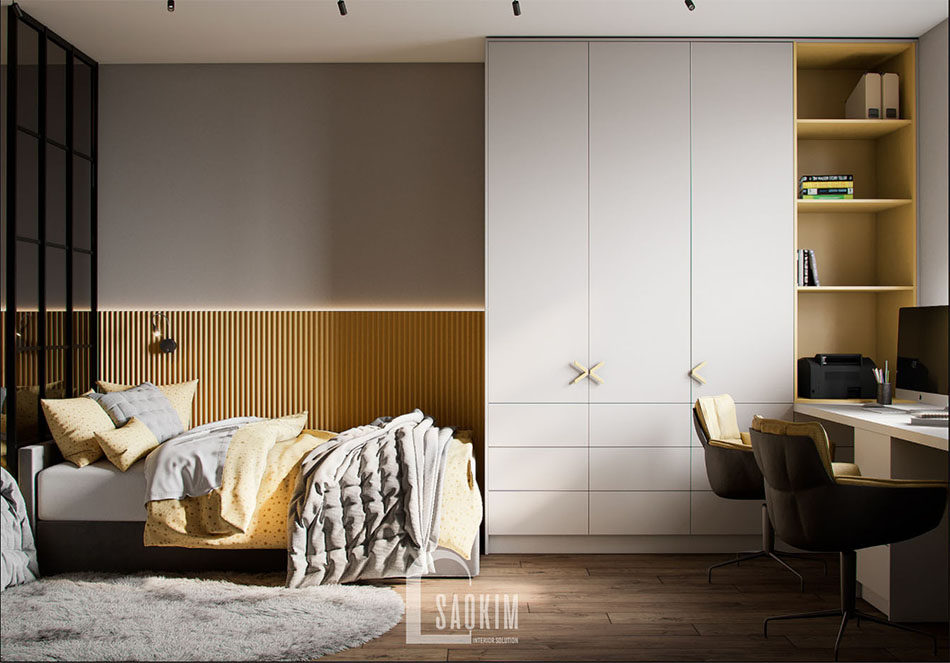 Không gian phòng ngủ cho 2 bé với gam màu vàng tươi