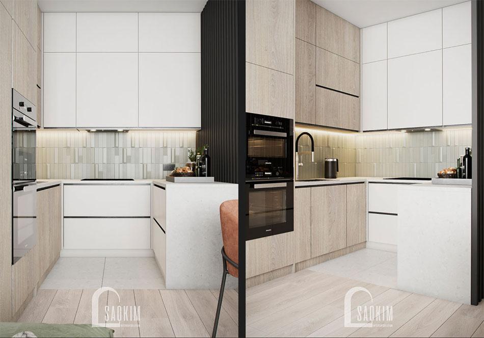 Thiết kế nội thất phòng bếp chung cư The Terra An Hưng theo phong cách hiện đại