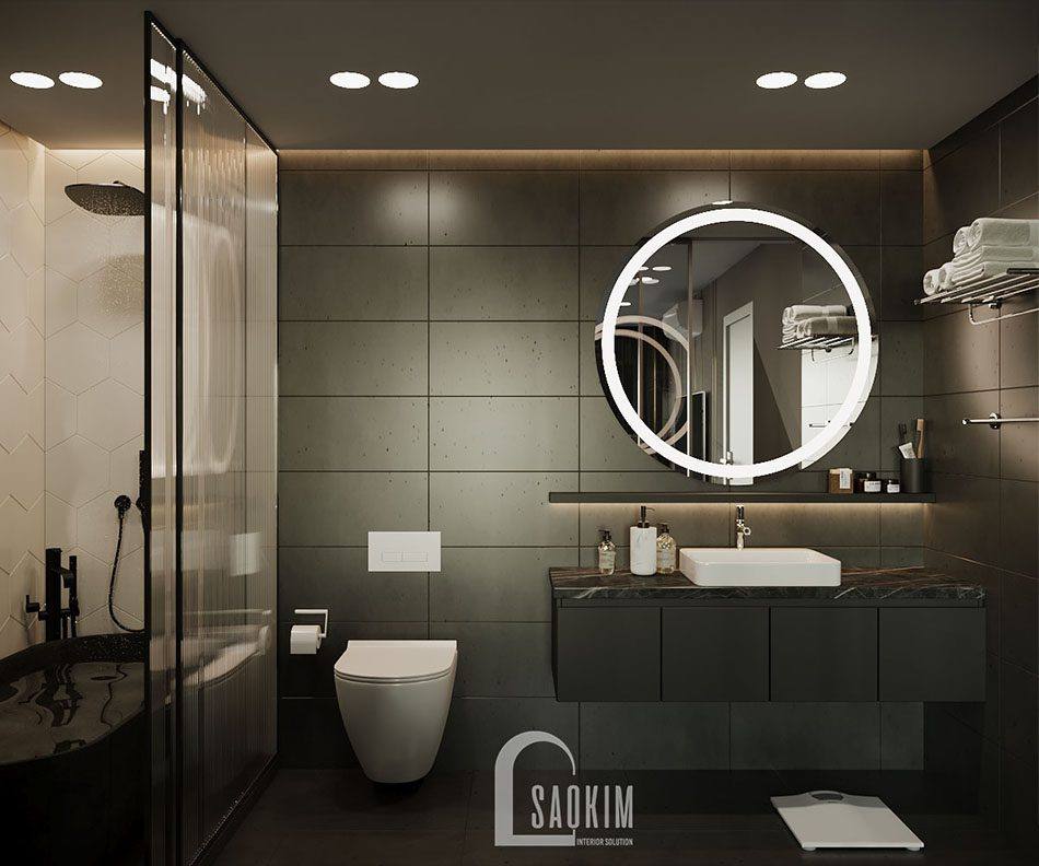 Phòng tắm chung cư được sửa lại sử dụng vách kính ngăn cùng thiết bị vệ sinh cao cấp