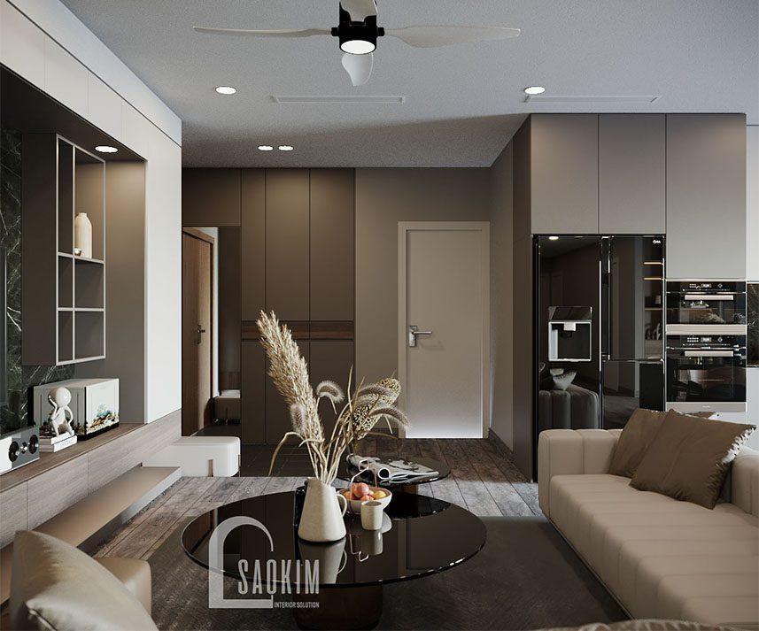 Thiết kế nội thất phòng khách căn hộ chung cư cao cấp TTTM Chợ Mơ