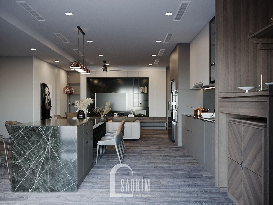 Thiết kế nội thất phòng bếp chung cư theo phong cách hiện đại