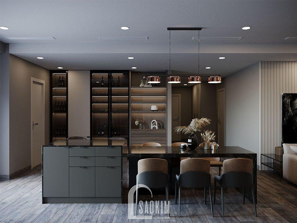 Thiết kế nội thất phòng bếp căn hộ chung cư cao cấp theo phong cách hiện đại