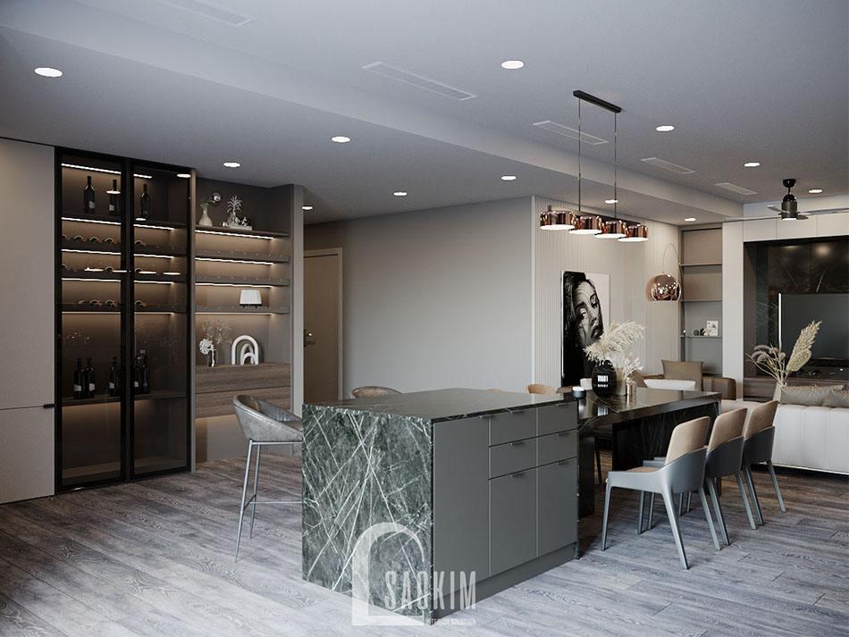 Những chất liệu cao cấp được sử dụng cho thiết kế nội thất phòng bếp chung cư cao cấp