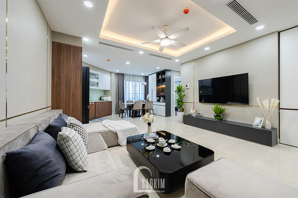 Không gian mở được lựa chọn cho các khu vực sinh hoạt chung giúp căn hộ trở nên rộng thoáng hơn