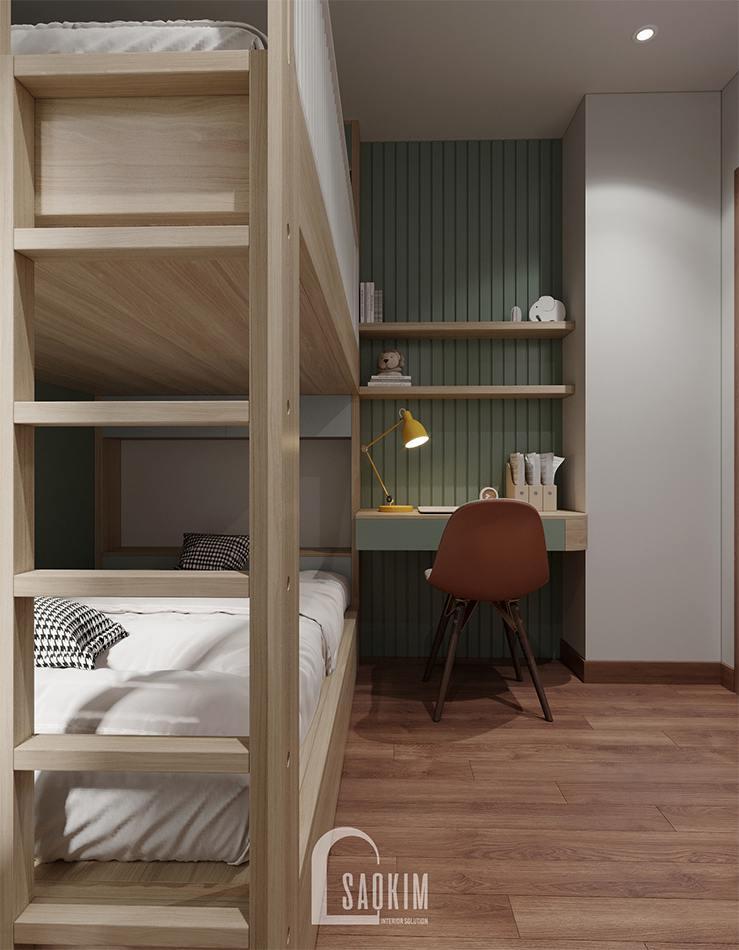 Thiết kế nội thất phòng ngủ chung cư cho bé với hệ giường tầng