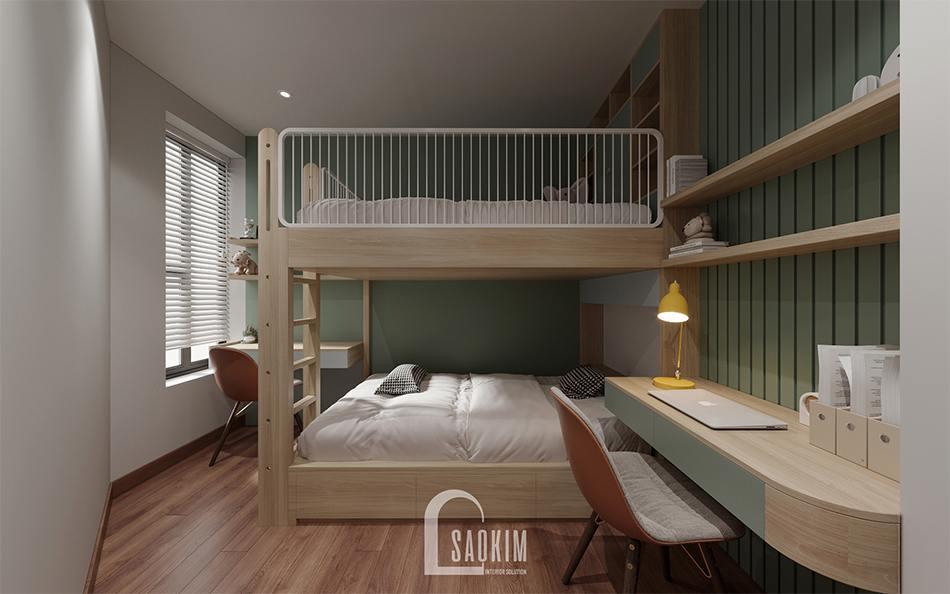 Thiết kế phòng ngủ chung cư cho bé với gam màu xanh pastel và hệ giường tầng
