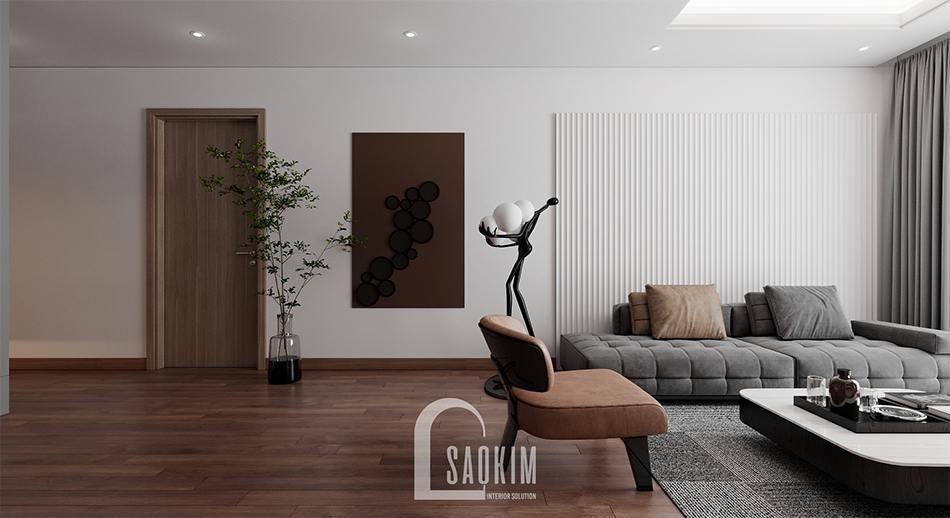 Thiết kế nội thất phòng khách chung cư 110m2 Emerald Center Park Mỹ Đình