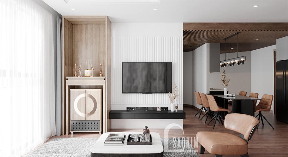 Thiết kế nội thất phòng khách chung cư Emerald Center Park Mỹ Đình theo phong cách hiện đại, sang trọng