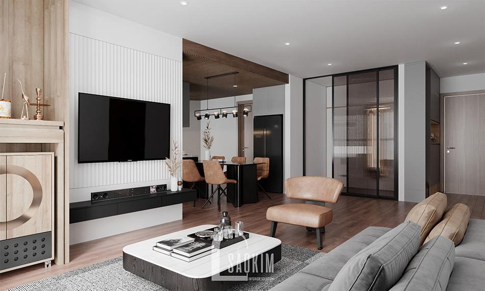 Thiết kế phòng khách chung cư 110m2 3 phòng ngủ Emerald Center Park Mỹ Đình
