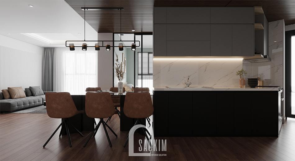 Thiết kế nội thất phòng bếp chung cư 110m2 Emerald Center Park Mỹ Đình