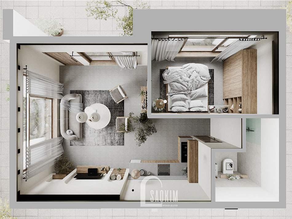 Mặt bằng 3D thiết kế căn nhà nhỏ 58m2 ở Hà Nam