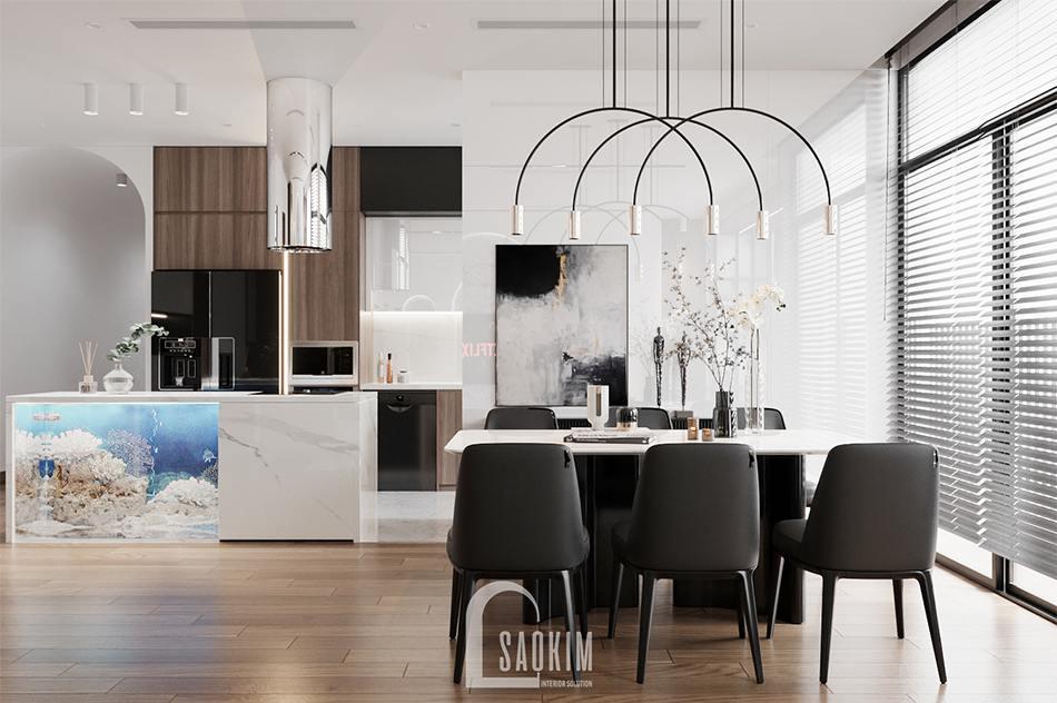 Thiết kế phòng ăn chung cư The Zen Gamuda theo phong cách hiện đại