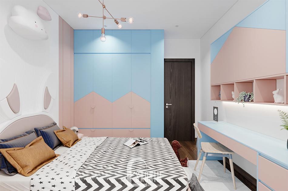 Thiết kế phòng ngủ bé gái chung cư The Zen Gamuda với sự kết hợp giữa gam màu hồng và xanh pastel