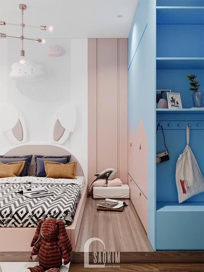 Thiết kế phòng ngủ bé gái chung cư The Zen Gamuda mang vẻ đẹp nữ tính, xinh xắn