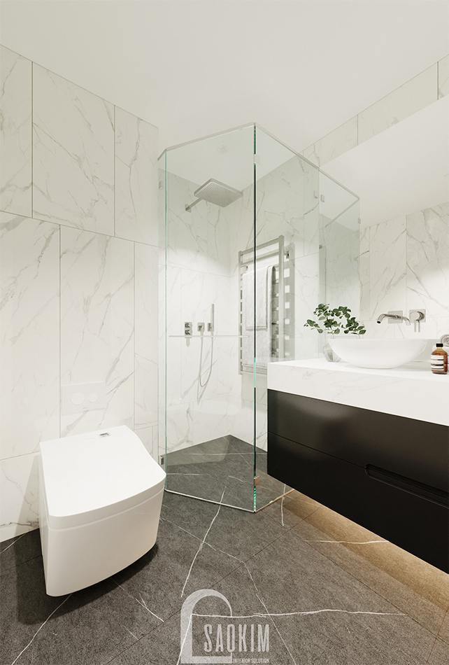Thiết kế phòng tắm trong phòng ngủ khách chung cư The Zen Gamuda