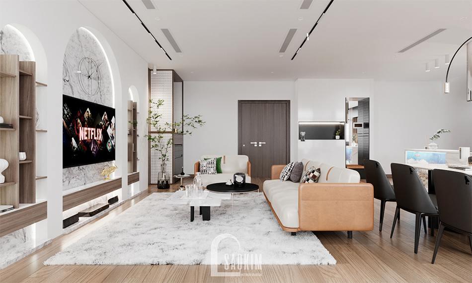 Thiết kế phòng khách chung cư The Zen Gamuda theo phong cách hiện đại, sang trọng