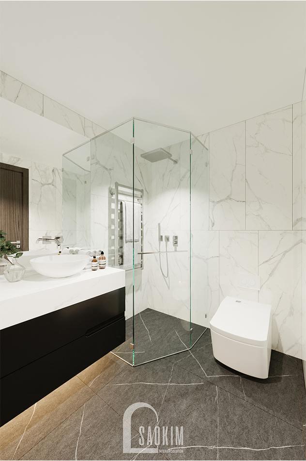 Thiết kế phòng tắm chung căn hộ The Zen Gamuda mang vẻ đẹp hiện đại