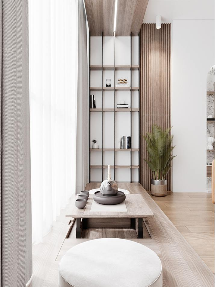 Không gian trà đạo nhỏ trong thiết kế nhà chung cư 3 phòng ngủ The Zen Gamuda