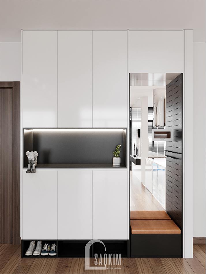 Tủ giày đa năng bố trí trong thiết kế chung cư