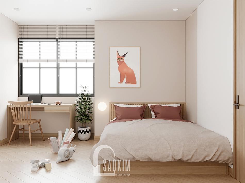 Thiết kế nội thất phòng ngủ cho bé chung cư 90m2 bàn giao thô dự án Thiên Niên Kỷ (TSQ)