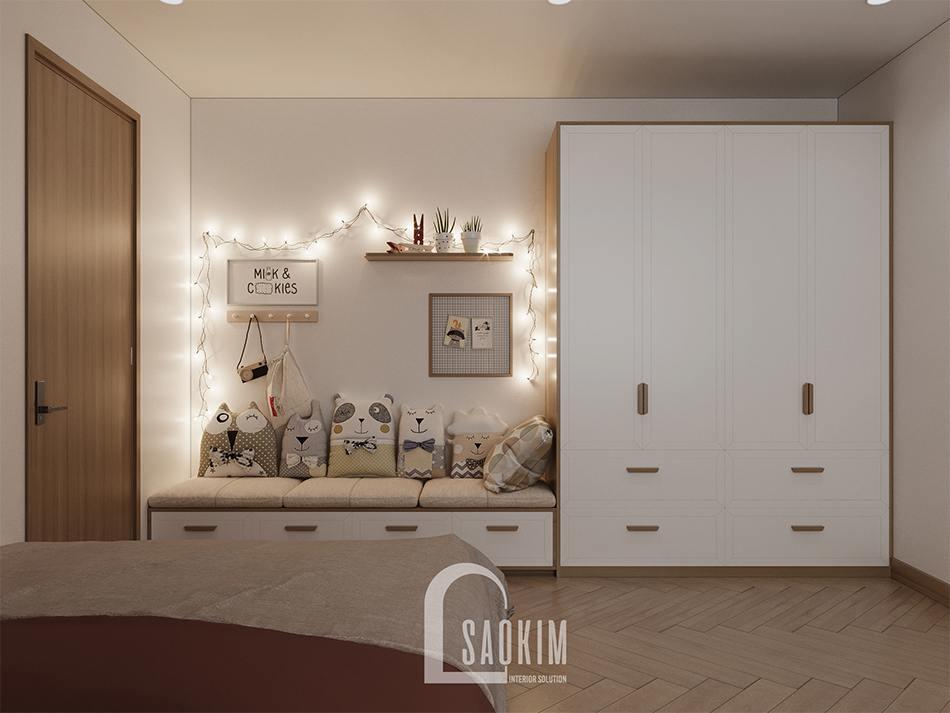 Thiết kế phòng ngủ cho bé gái chung cư 90m2 dự án Thiên Niên Kỷ (TSQ)