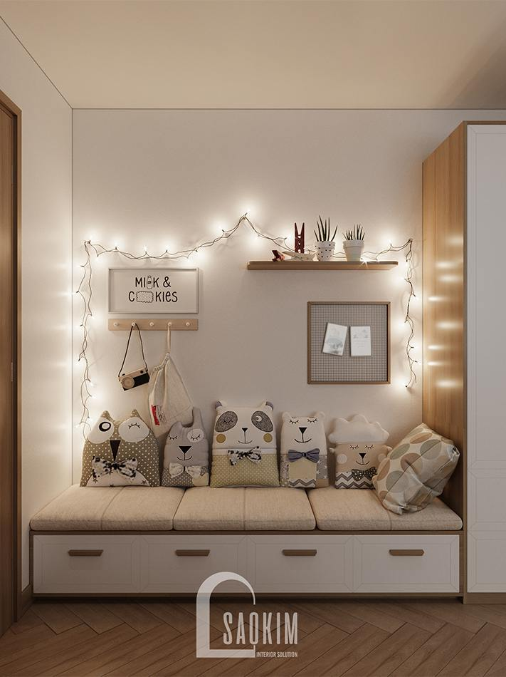 Không gian vui chơi trong phòng ngủ của bé - thiết kế chung cư 90m2 bàn giao thô dự án Thiên Niên Kỷ (TSQ)