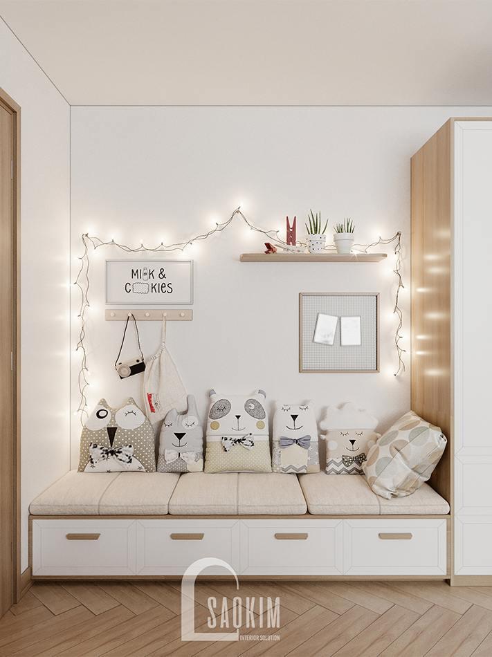Thiết kế khu vực vui chơi cho bé trong phòng ngủ chung cư 90m2 bàn giao thô dự án Thiên Niên Kỷ (TSQ)