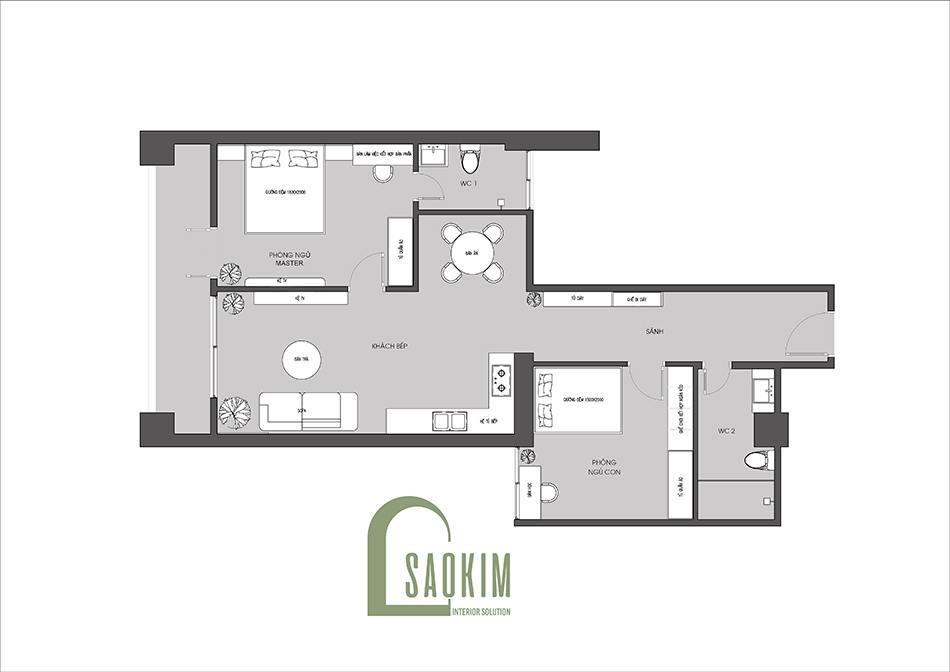 Mặt bằng thiết kế nội thất chung cư 90m2 bàn giao thô dự án Thiên Niên Kỷ (TSQ)