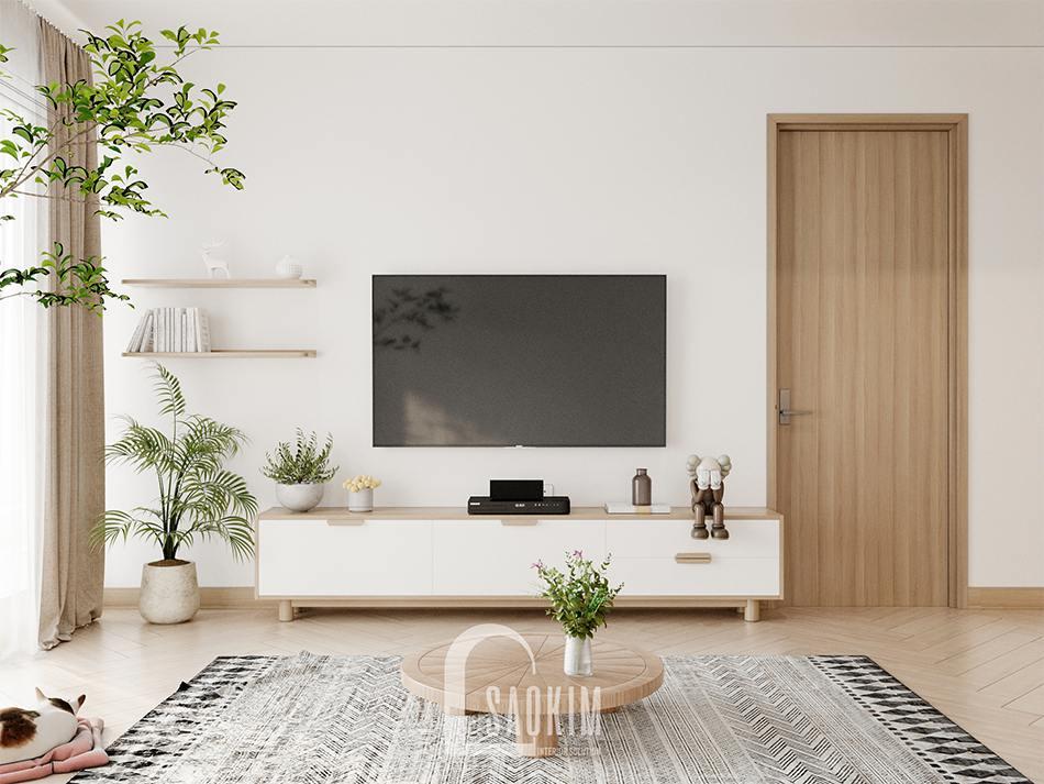 Thiết kế phòng khách chung cư 90m2 bàn giao thô dự án Thiên Niên Kỷ (TSQ)