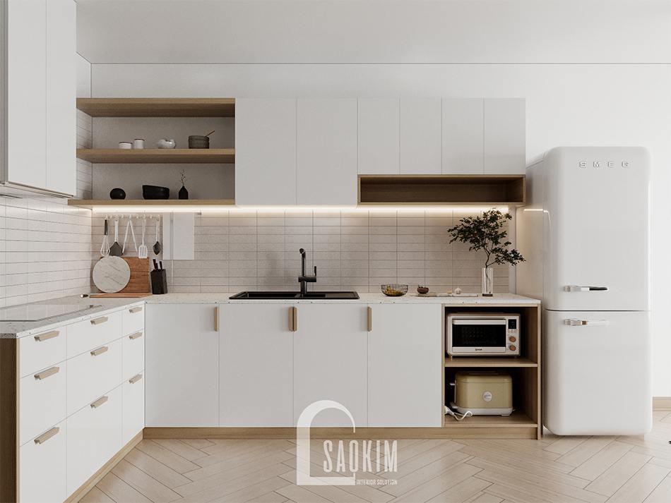 Thiết kế phòng bếp chung cư 90m2 bàn giao thô dự án Thiên Niên Kỷ (TSQ)