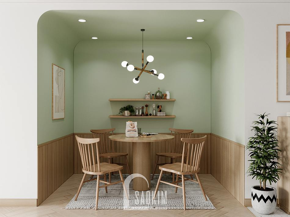 Thiết kế phòng ăn chung cư 90m2 bàn giao thô dự án Thiên Niên Kỷ (TSQ)