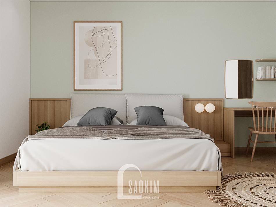 Thiết kế nội thất phòng ngủ master chung cư 90m2 bàn giao thô dự án Thiên Niên Kỷ (TSQ)