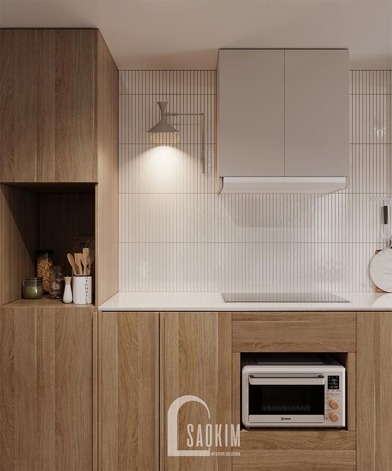 Thiết kế phòng bếp mang phong cách nội thất Wabi Sabi chung cư The Zen Gamuda 157m2