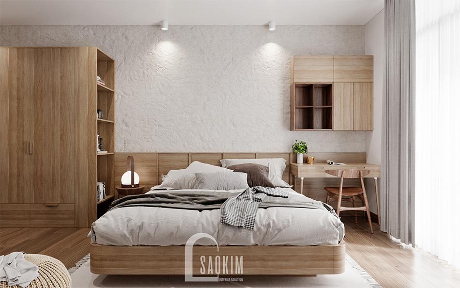 Thiết kế nội thất phòng ngủ master phong cách Wabi Sabi chung cư The Zen Gamuda 157m2