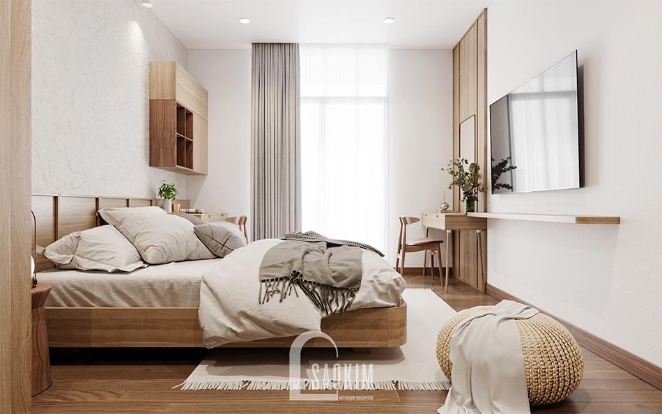 Thiết kế nội thất phòng ngủ master phong cách thiết kế Wabi Sabi chung cư The Zen Gamuda 157m2