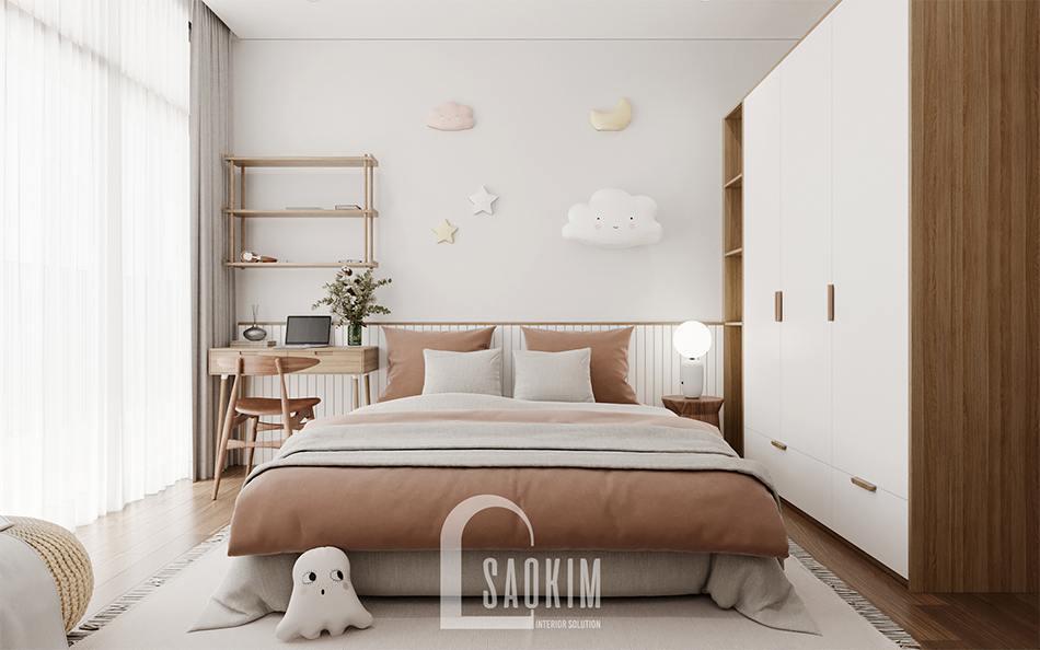 Thiết kế nội thất phòng ngủ của bé phong cách Wabi Sabi chung cư The Zen Gamuda 157m2
