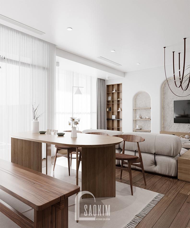 Thiết kế nội thất phòng ăn phong cách Wabi Sabi chung cư The Zen Gamuda 157m2
