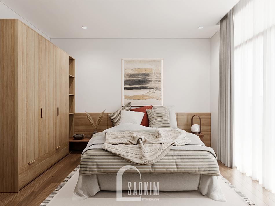 Thiết kế nội thất phòng ngủ 3 phong cách Wabi Sabi chung cư The Zen Gamuda 157m2